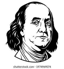 Benjamin Franklin portrait. Used for cutting files and printing