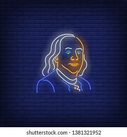 Benjamin Franklin silhouette neon sign. USA president, hundred dollar bill, declaration of independence. Vector illustration in neon style for festive banners, light billboards, 4th of July