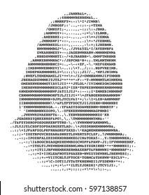 Benjamin Franklin stylized portrait ASCII art original version. Code. Vector illustration.
