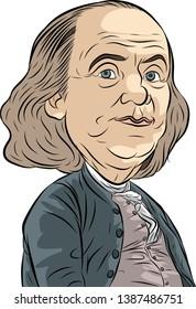 Benjamin Franklin Vector Caricature Portrait