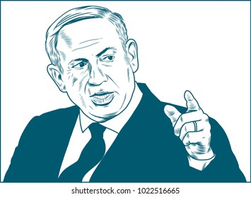 Benjamin Netanyahu. Vector Portrait Drawing Illustration. Febuary 11, 2018