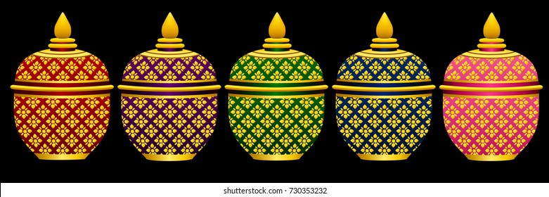 Benjarong  Set of Thai porcelain old style graphic vector