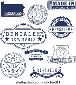 Bensalem town, Pennsylvania. Set of generic stamps and signs.