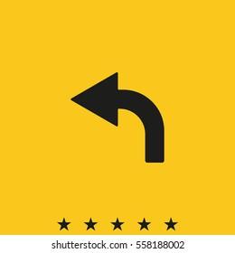 Bent arrow icon. Left arrow icon.