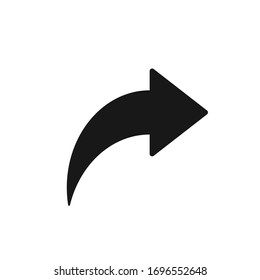 Bent arrow pointing right, Curved arrow share icon