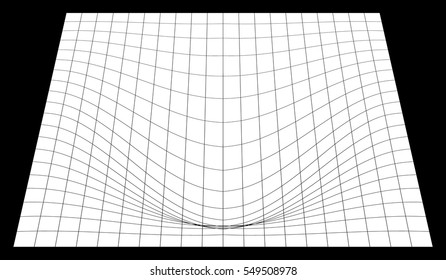 Bent grid in perspective. 3d mesh with convex distortion (editable vector)