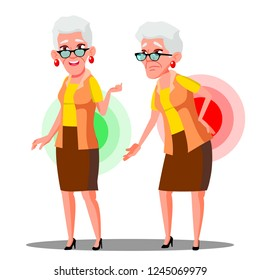 Bent Over Old Woman From Back Ache, Sciatica Vector. Isolated Cartoon Illustration