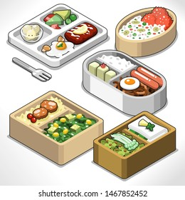 Bento box set including rice, sausages, meat, egg and vegetables (isometric view, vector illustration)