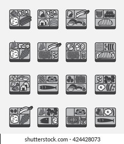 bento icons vector , 16 Japanese food set