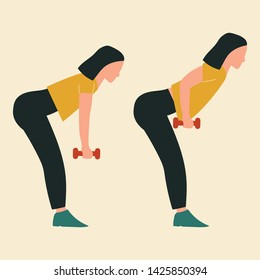 Bent-over row. Top body workout. Upper body exercises. Flat vector illustration.