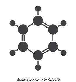 Benzene molecular model, vector silhouette on white background