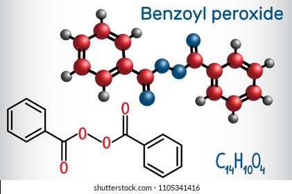 Benzoyl peroxide (BPO) molecule. Structural chemical formula and molecule model. Vector illustration