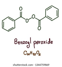 Benzoyl peroxide is a medication and industrial chemical. As a medication, it is used to treat mild to moderate acne. For more severe cases, it may be used with other treatments. Vector  illustration