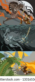 beowulf fighting the dragon, the grendel and the mother ogre