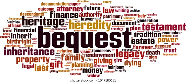 Bequest word cloud concept. Vector illustration