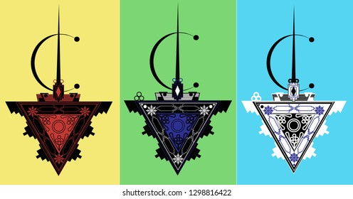 berber jewellery symbol illustration,isolated  ethnic elements,north african culture,vector illustration.