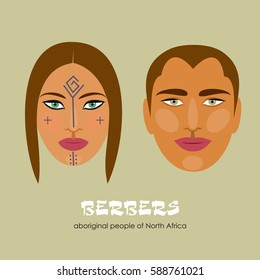 Berbers - the indigenous inhabitants of North Africa. Man and woman. Vector illustration.