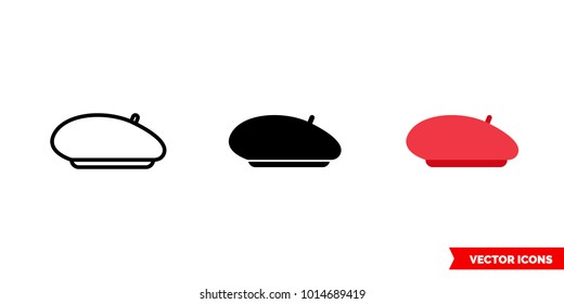 Beret icon of 3 types: color, black and white, outline. Isolated vector sign symbol.