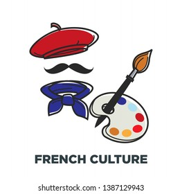 Beret and neckerchief paint brush and palette French culture symbols of France vector stereotypical outfit mustaches and painting art traveling and tourism attraction and sightseeing headdress  paint