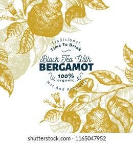 Bergamot branch design template. Kaffir lime frame. Hand drawn vector fruit illustration. Engraved style vintage citrus background.