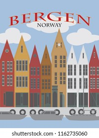 Bergen Norway downtown waterfront colorful wooden houses shopping district poster vector illustration