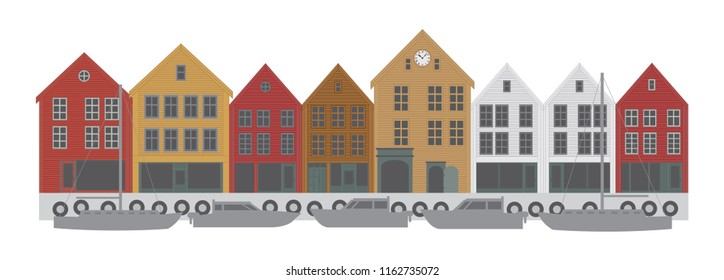 Bergen Norway downtown waterfront colorful buildings shopping district vector illustration