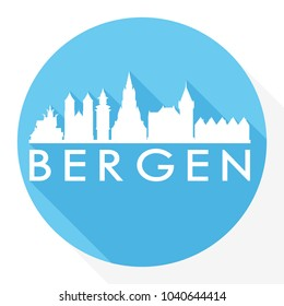 Bergen Norway Flat Icon Skyline Silhouette Design City Vector Art