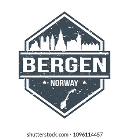 Bergen Norway Travel Stamp Icon Skyline City Design Tourism