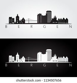 Bergen skyline and landmarks silhouette, black and white design, vector illustration.