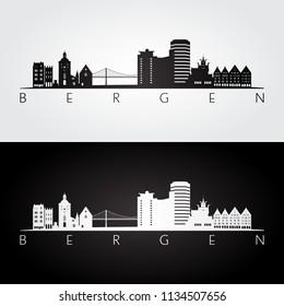 Bergen skyline and landmarks silhouette, black and white design, vector illustration.