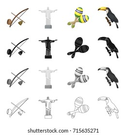 Berimbau, the Brazilian instrument, maracas, Statue of Christ the Redeemer the bird toucan. Brazil set collection icons in cartoon black monochrome outline style vector symbol stock illustration web.