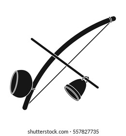 Berimbau icon in black style isolated on white background. Brazil country symbol stock vector illustration.