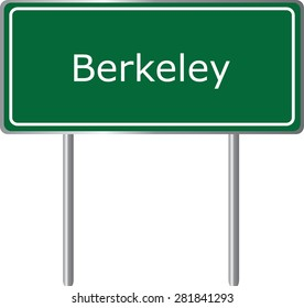 Berkeley , California, road sign green vector illustration, road table, USA city
