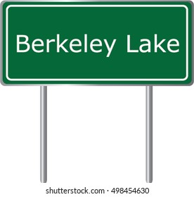 Berkeley Lake , Georgia , road sign green vector illustration, road table, USA city