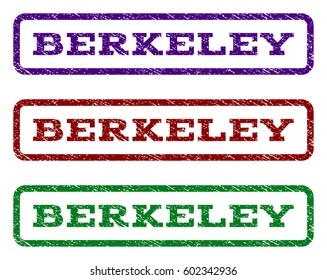 Berkeley watermark stamp. Text caption inside rounded rectangle with grunge design style. Vector variants are indigo blue, red, green ink colors. Rubber seal stamp with dirty texture.