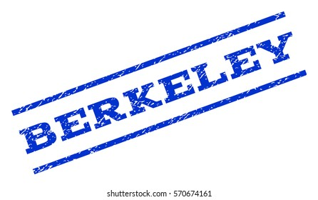 Berkeley watermark stamp. Text tag between parallel lines with grunge design style. Rotated rubber seal stamp with dust texture. Vector blue ink imprint on a white background.
