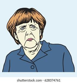 Berlin April 26, 2017. Angela Merkel Cartoon Vector Portrait