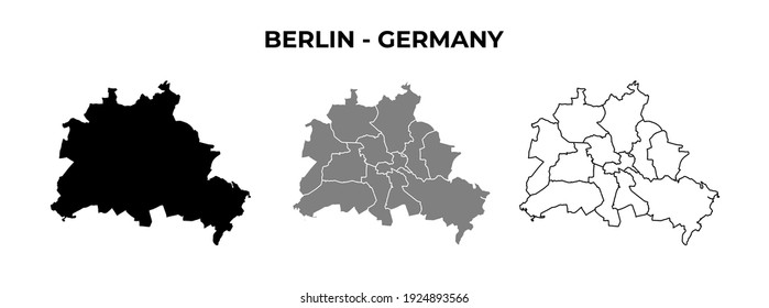 Berlin Blank Map Vector Black Silhouette and Outline Isolated on White