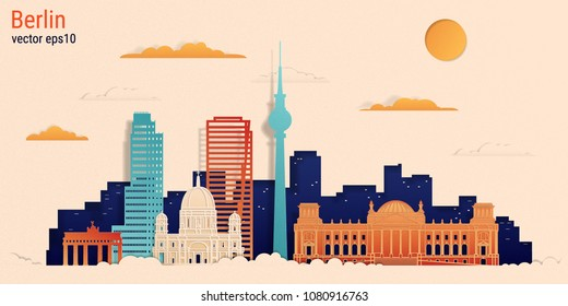 Berlin city colorful paper cut style, vector stock illustration. Cityscape with all famous buildings. Skyline Berlin city composition for design