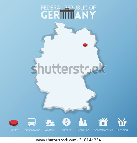 Capital Of Germany Map.Berlin City Federal Republic Germany Map Stock Vector Royalty Free