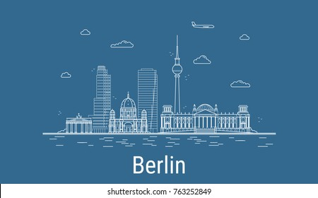 Berlin city, Line Art Vector illustration with all famous buildings. Linear Banner with Showplace. Composition of Modern cityscape. Berlin buildings set