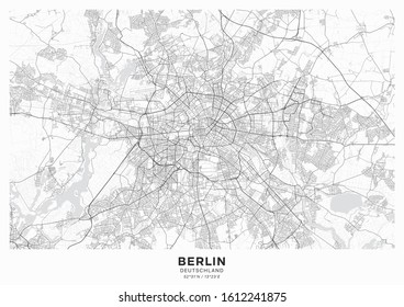 Berlin city map poster. Detailed map of Berlin (Germany). Transport system of the city. Includes properly grouped map features (water objects, railroads, roads etc).