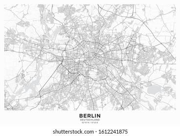 Affiche de la carte de la ville de Berlin. Carte détaillée de Berlin (Allemagne). Système de transport de la ville. Comprend des éléments de carte correctement regroupés (objets d'eau, voies ferrées, routes, etc.).