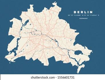 Berlin city map road vector poster