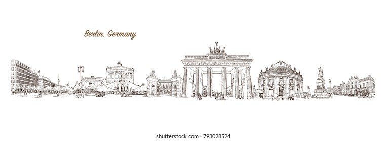 Berlin City skyline Capital of Germany. Hand drawn sketch illustration in vector.