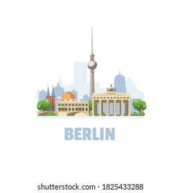 Berlin city skyline. Cityscape with famous architectural buildings. On white background.