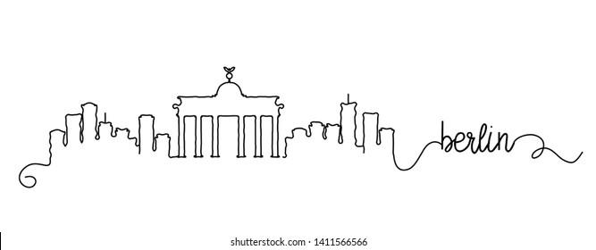 Berlin City Skyline Doodle Sign