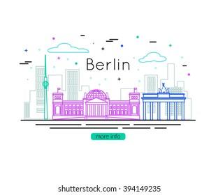 Berlin City Skyline. Germany Travel. Vector illustration.