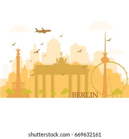 Berlin city skyline silhouette with historical buildings. Flat style vector illustration.