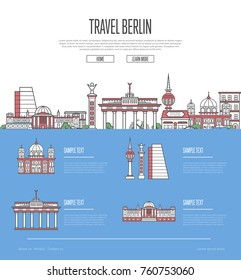 Berlin city travel vacation guide with most important architectural attractions in linear style. Berlin skyline with national famous landmarks. German traveling and european journey vector concept